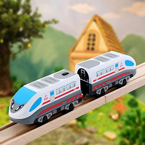 Hearthrousy Holzeisenbahn Zug Elektrische Hohe Geschwindigkeit Spielzeug Zug Kinder Lokomotive Kompatibel mit Holzschienen Kinder Spielzeuglok Junge Mädchen Kleinkind Spielzeug
