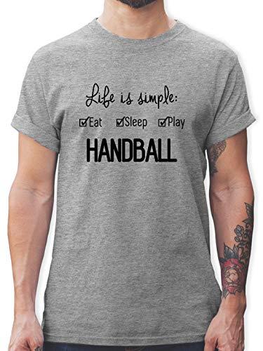 Handball - Life is Simple Handball - L - Grau meliert - L190 - Tshirt Herren und Männer T-Shirts