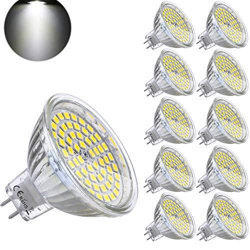 10er GU5.3 LED Kaltweiß MR16 12V 5W Ersatz für 35W Halogen Lampen GU5.3 6000K 450 Lumen Birne Leuchtmittel 120°Abstrahwinkel Spot Nicht-Dimmbar Ø50 x 48 mm (Lampe Ersatz-leuchtmittel)