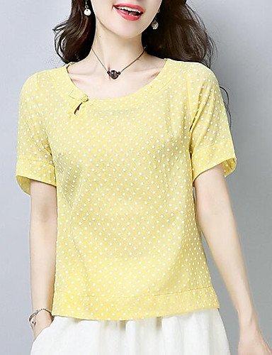 YFLTZ Camiseta de algodón para Mujer - Lunares, Amarillo, S