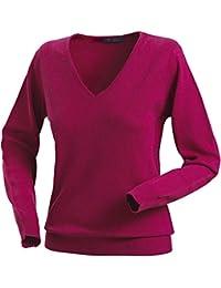 Royal Spencer Damen-Pullover mit V-Ausschnitt aus Kaschmir-Seide,  Kaschmirpullover Beere   Pink, toller Winterpullover,… 90d59342f5