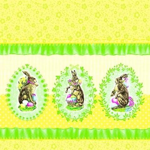 ambiente 20ST. Servilletas Papel Servilletas pequeño de 3capas Nostalgic Easter Yellow Pascua Conejo Pascua Amarillo Verde 25x 25cm