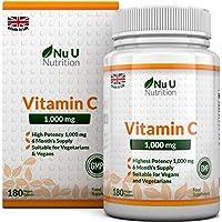 Vitamin C 1000 mg - vitamine C - Cure de 6 Mois/180 comprimés - Compléments alimentaires de Nu U Nutrition