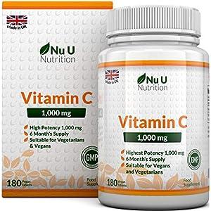 Vitamin C 1000 mg hochdosiert – für Immunsystem & Kollagen – Versorgung für 6 Monate – 180 Tabletten – Nahrungsergänzungsmittel von Nu U Nutrition