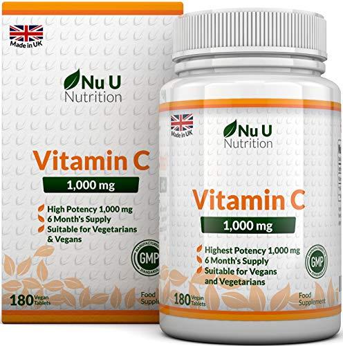 Vitamin C 1000 mg hochdosiert - für Immunsystem & Kollagen - Versorgung für 6 Monate - 180 Tabletten - Nahrungsergänzungsmittel von Nu U Nutrition (Bioflavonoide Vitamin C)
