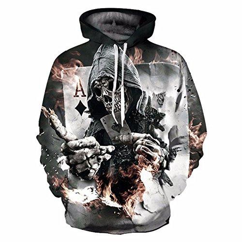 New Fashion Skulls Hoodies Men Women 3d Sweatshirts With Hat Print Poker Diamonds Popular A