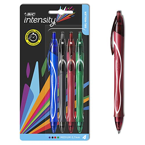 BIC Intensity Quick Dry Gel-Roller (0, 7mm) in verschiedenen Farben - Bunte Gelstifte zum Schreiben oder Zeichnen - Fester Griff für maximalen Schreibkomfort - 4er Set