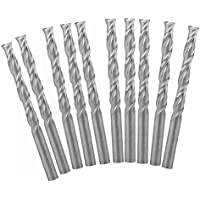 UE _ hozly 3.175x 22mm doble flauta espiral cortador CNC Router Bits madera acrílico Drill Pack de 10