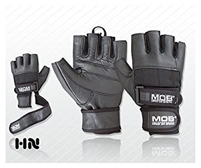 Weight Lifting Gloves Long LEATHER Wrist Wrap PRO Body Building Power Lifting Lifter PADDED Palm DOUBLE STRAP Exercise Fitness Home Gym by Make or Break