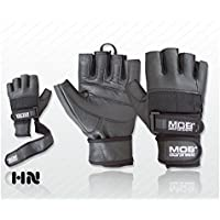 Leather Weight Lifting Gloves Power Lifting Lifter PADDED Palm Exercise Fitness Glove Cycling WheelChair Strengthen Home Gym (XXL)