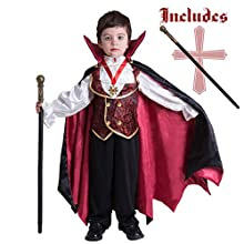 Spooktacular Creations Gothic Vampire Costume Deluxe Set for Boys, Kids Halloween Party Favors, Dress Up,Role Play and Cosplay (Small, Red)