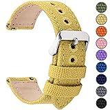 Fullmosa 8 Colores para Correa de Reloj de Lona de Liberación Rápida, Correa de Reloj Militar 14 mm 16 mm 18 mm 20 mm 22 mm 24 mm Pulseras de Reloj de Repuesto para Hombres Mujeres, 20mm Amarillo