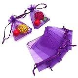 100PCS Borse in organza,Sacchetti regalo grande organza, 7X9CM Sacchetti di gioielli coulisse e sacchetti di caramelle per bomboniere(viola)