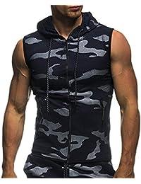 Kanpola Tank Top Herren Slim Fit Basic Camouflage Print Kurzarm T-Shirt mit Reißverschluss und Kapuze
