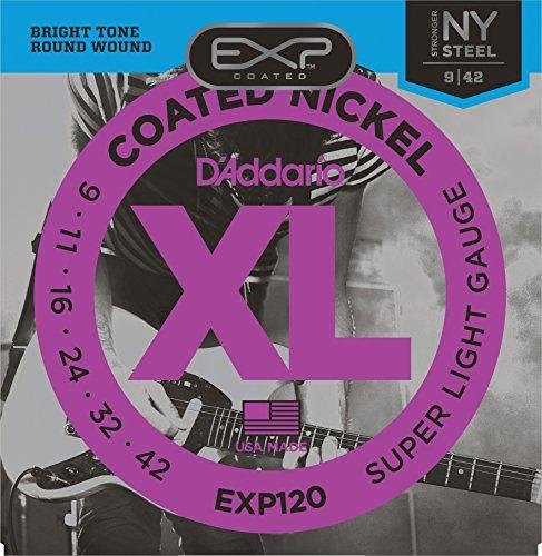 D'Addario EXP120 - Juego de Cuerdas para Guitarra Eléctrica de Acero y Níquel, 009' - 042, Transparente