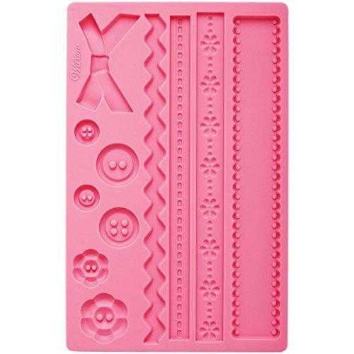 Wilton Fondant und Gum Paste Mold Fabric Silikonform, Silikon, rosa, 12 x 25 x 0,5 cm -