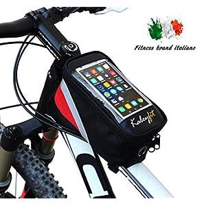 517CIPd1GqL. SS300 Kaleyfit Borsa Telaio Bici Anteriore Manubrio Porta Cellulare Touch Screen, Supporto Impermeabile Smartphone iPhone per…