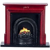 Muebles Para Casa De Muñecas Caoba chimenea con fuego de NEGRO REJILLA