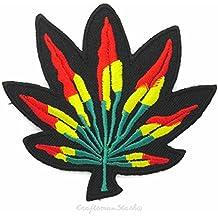 [de encendido 'n Bake] Rasta marihuana Cannabis Leaf (rojo, amarillo)–sobre, Sew de hierro en parche bordado–regalo, recuerdo de viaje, coleccionable, decoración