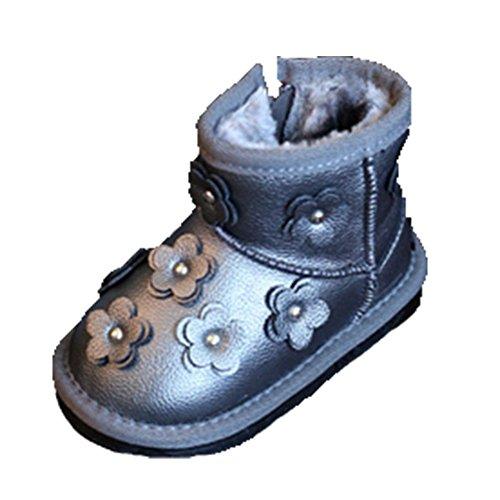 Ohmais Enfants Garçon Fille bottes et bottines botte classiques fille petit talons Chaussure Gris