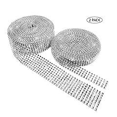 Idea Regalo - Winko acrilico strass diamante nastro per decorazioni torte di matrimonio, compleanno, baby shower eventi, progetti artistici e creativi (2rotoli, argento)
