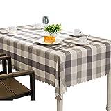 Mantel de tela escocesa Easy Care, cubierta de mesa a cuadros de poliéster suave, manteles de encaje lavables, mesa de comedor de mesa decorativa, blanco y gris ( Tamaño : Rectangle 140x220cm )