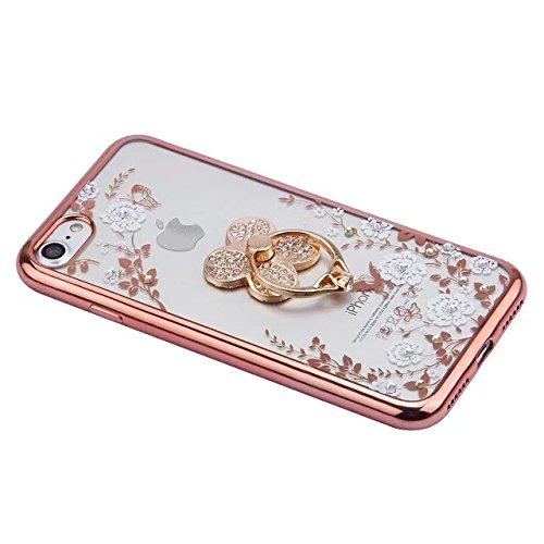 iPhone 7 Custodia Transparente,Plastica Hard Protettiva Cover Case Per iPhone 7,Lusso Rosa Color la Cornice Disegno,Bling Sparkle Crystal Chiaro Diamante Strass e Frafalla Pattern,Ultra Slim Sottile R Bianco Fiori/Quattro trifoglio
