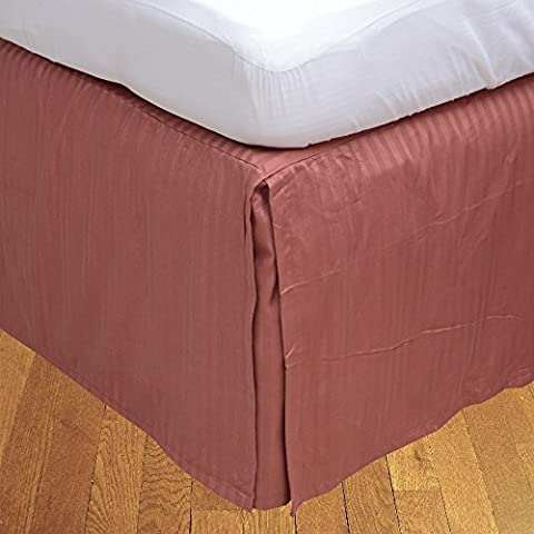 RoyalLinens Euro Double IKEA 300TC Brick Red Stripe Georgeous 1PCs Box Pleated Bedskirt Stripe (Drop Length: 25 inches)