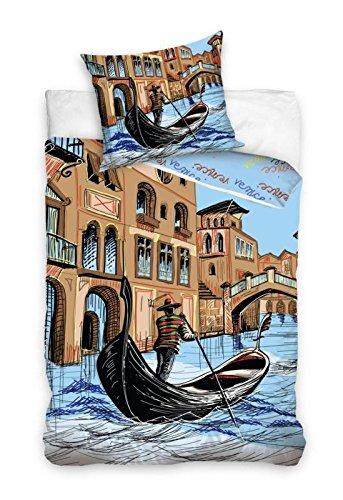 Venezia biancheria da letto Copripiumino 160x 200+ federa 70x 80idea decorativo 100% cotone, novità Collection Tabella Gondole a Venezia