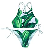 Bonjouree Maillots de Bain Push-up Padded Brazilian Bathing Swimsuit (S ( Cup: 30A/30B/32AA/32A/32B), Vert)