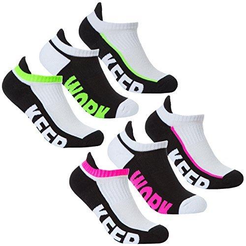 6-9-18 Paar Damen Sport Söckchen baumwollreich Turnschuhe für Laufen, Größe 4-8 - grün & rosa - 6 Paar, 4-8 (Socken Paar Geschnitten Knöchel 6)