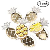 wivarra Party Teller, Einweg Geschirr Set 8 PCS Gold Folie Ananas Party Teller Hawaii Party Supplies Fruit Muster Pappteller für tropischen Dschungel BBQ Geburtstag Party Supplies 16 Pack