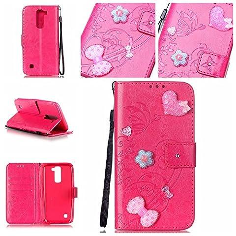 Meet de pour LG K7 / LG K8 Folio Case ,Wallet flip étui en cuir / Pouch / Case / Holster / Wallet / Case, (série gaufré) Amour Bow forage autocollants décorés pour LG K7 / LG K8 PU Housse / en cuir Wallet Style de couverture de cas Coque pour téléphone portable Étui Porte-monnaie en cuir étui de téléphone pour LG K7 / LG K8 - Rose Rouge