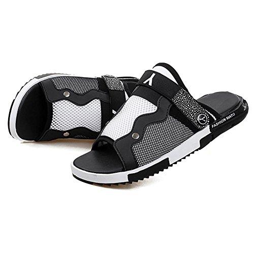 Chinelos Preto Impermeável Pu Preto Azul Domésticos Unisex Sapatos Shangxian Indoor Escorregar Branco XTH8Bqqw