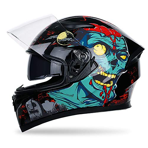 He-art Crazy Zombie Graffiti Integralhelm Bunt gemusterter Motorradhelm mit modularer, hochklappbarer Doppelvisier-Windschutzscheibe - Street Bike Racing Moto-Helm,A,XL