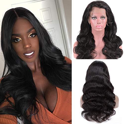 NIUDINNG Front Lace Wig Echthaar Perücke Brasilianische Haare Perücke Bleached Knots 13x4 Top Swiss Lace Front Wig Human Hair Grad 8A Wig 130% Dichte Lange 28 zoll (Lace Perücke Full Kurze)