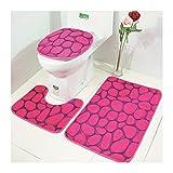 X-Life Badezimmer Teppich Set Badgarnitur 3 tlg. Set, Badematte + Toiletten-Vorleger + WC-Deckelbezug, Mikrofaser Wasserabsorbierende Rutschfest, 50x80 cm Rosa