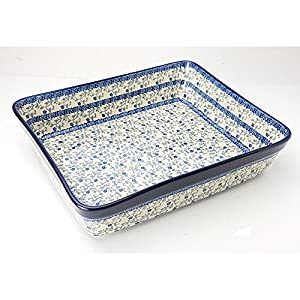 Polish Pottery Large Lasagne Dish – Forget-me-not – 32cm x 26cm