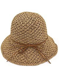 Oudan Sombreros de bombín para Las Mujeres Sombreros de Paja Sol de Verano  Foladable Gorras de c7ca4f3050e