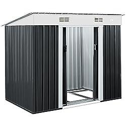 Abri de jardin métal -3,35m³ - Cabane de jardin - Rangement vélos/outils - Gris