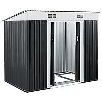 Metall Gerätehaus 196 x 122 x 180 cm ✔ inkl. verzinktem Bodenkranz ✔ Geräteschuppen Garten Schuppen Gartenhaus ✔ Anthrazit ✔ Modellauswahl