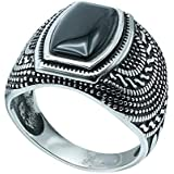 FASHION RING STAINLESS STEEL WITH BLACK STONE SIZE 11