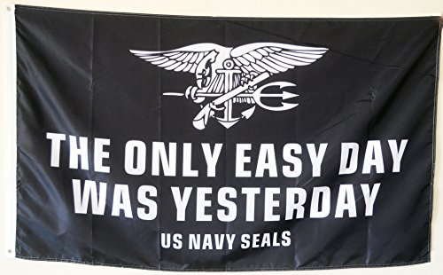2But The Only Easy Day was Yesterday US Navy Seals Military USA Banner Flagge 3x 5Fuß Us-navy