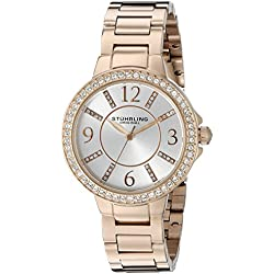 Stuhrling Original Women's Quartz Watch with Silver Dial Analogue Display and Rose Gold Stainless Steel Bracelet 480.05