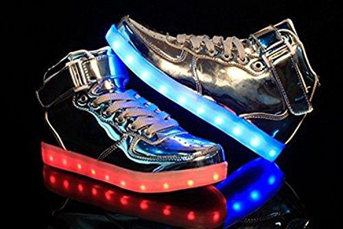 [Présents:petite serviette]JUNGLEST® - 7 Couleur Mode Unisexe Homme Femme Fille USB Charge LED Chaussures Lumière Lumineux Clignotants Chaussures de marche Haut-Dessus LED Ch c35