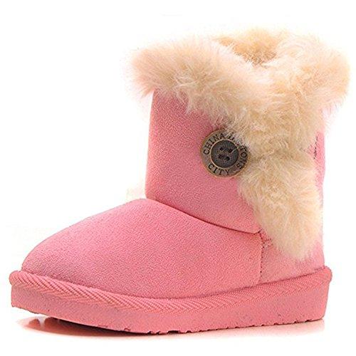 Mädchen Wärme Schlupfstiefel Kinder Gepolsterten Schuhe Baby Halbschaft Boots Gefüttert Winter Stiefel Kleinkind, Pink 25 (Mädchen Winter Boot)