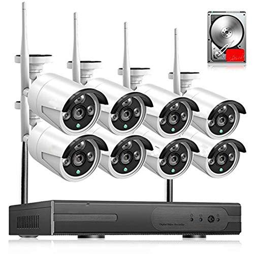 ERSD Drahtlose Überwachung Ausrüstung Set 4-Kanal-Rekorder NVR-Netzwerkkamera 720P1080P HD-Nachtsicht-Handy Remote-Webcam-Monitor für Baby/Haustier/Kindermädchen-Monitor -