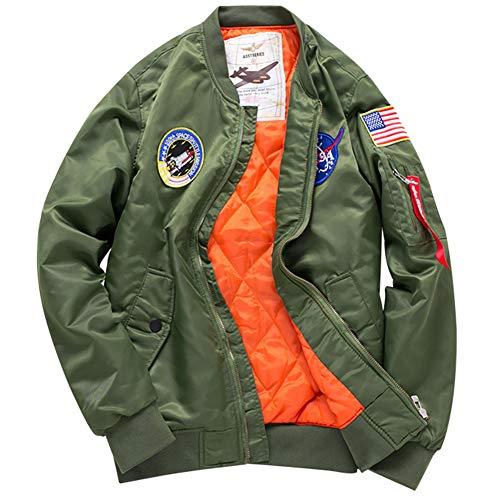 Herren Übergröße Leichtgewich Jacke Bomberjacke MA1 Fliegerjacke Sportbekleidung Fahrradjacke Mantel Windjacke (Armee-Grün, Medium)