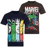 Marvel Comics - Camiseta oficial para niño - Con personajes de los cómics Hulk, Iron Man, Thor - Pack 2 unidades azul marino / gris marengo - 3-4 años