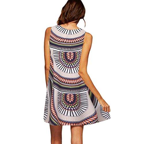 VEMOW Vintage Boho Frauen Sommerkleider Sleeveless Strand Gedruckt Kurzes Minikleid Eine Linie...